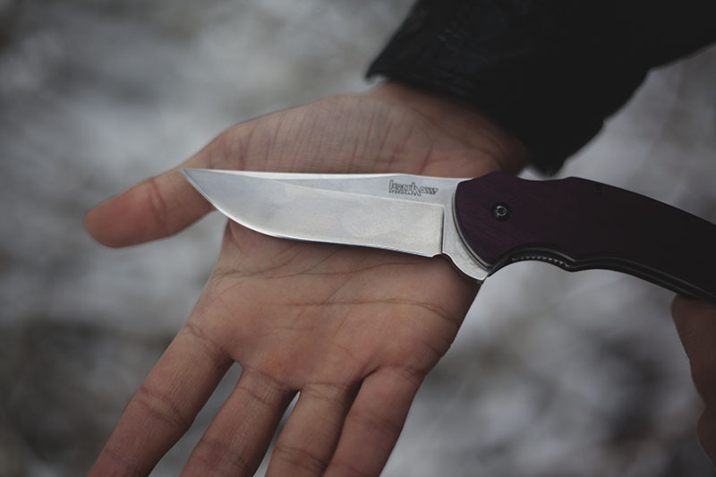 purple wooden handles kershaw tremor custom
